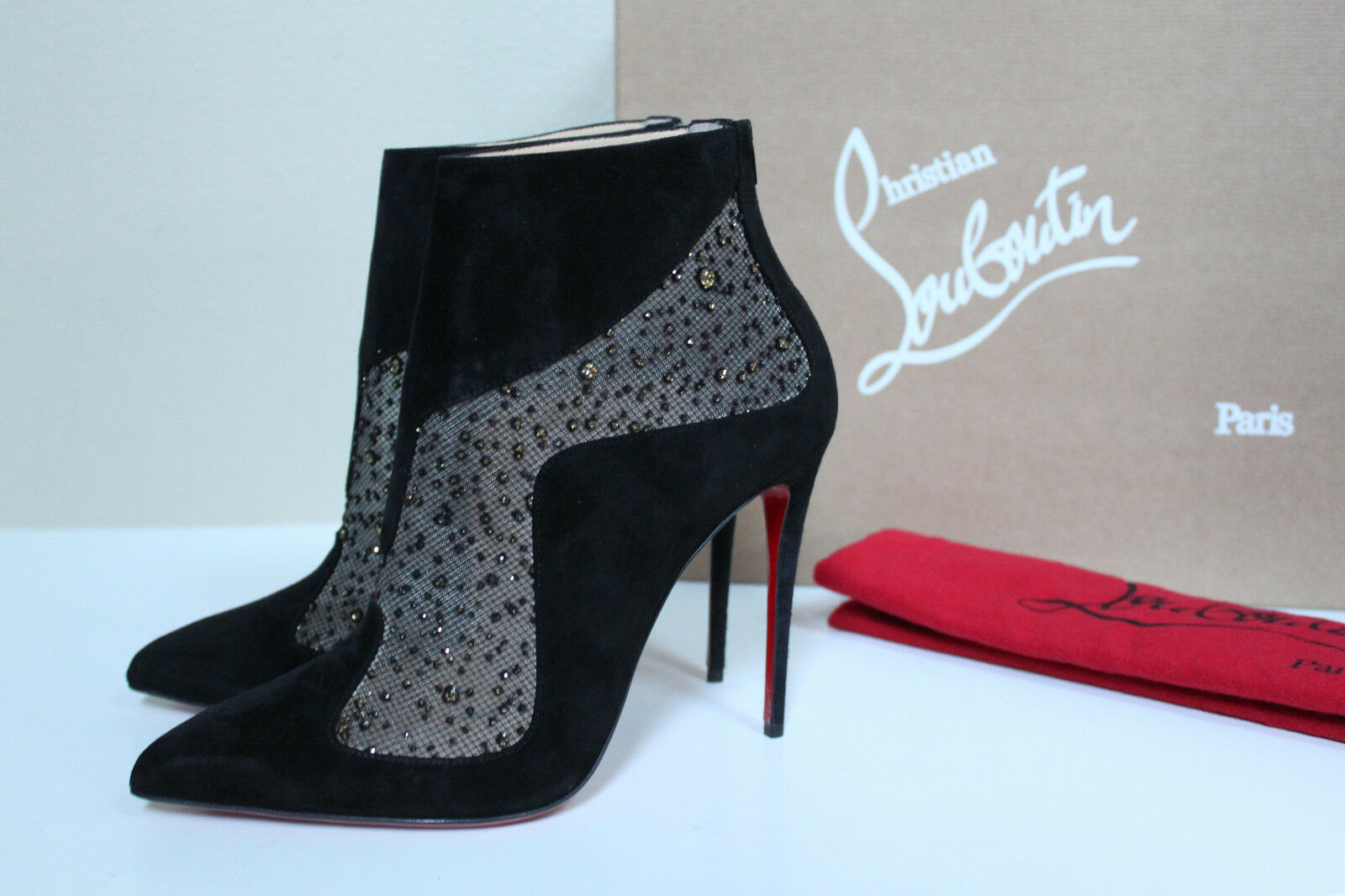 New sz 6 / 36.5 Christian Suede Louboutin Papillo Black Suede Christian Pointed Toe Bootie Shoes 9ab677