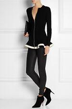 ICONIC CHIC WARM Alexander McQueen rib knit BLACK/CREAM wool blend JUMPER/jacket