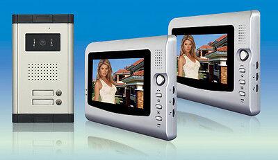 """2x 7"""" Farb erweiterbar Video Türsprechanlage Gegensprechanlage 2 Familien Haus"""