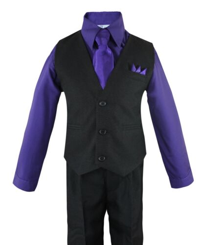 Toddler Boys 4 Piece Suit Set Solid Black Vest and Pants w// Colored Shirt 2T-14