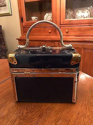 Vintage DELILL 50's 60's Navy Blue Box Purse Handbag Cosmetic Train Case Luggage