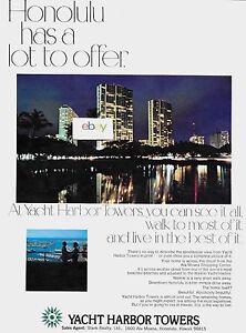 Mittel- & Südamerika Antiquitäten & Kunst Jacht Hafen Türme Honolulu Ala Moana Mitte Condo's Bei Nacht 1989 Anzeige Reinweiß Und LichtdurchläSsig