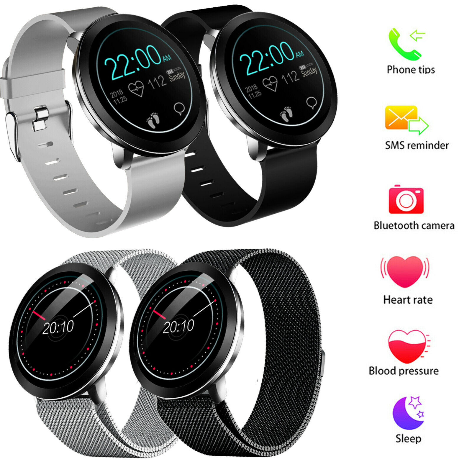 Touchscreen Smart Watch Heart Rate Monitor Phone Mate for Samsung Note 5 8 9 10+