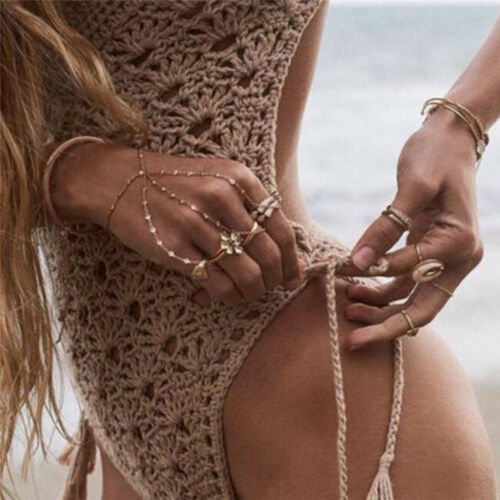 Women Bandage Bikini Crochet Pushup Padded Bra Swimsuit Bathing Suit Swimwear OX