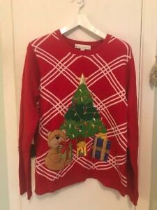 Jolly Ugly Christmas Sweater Xl Red White Bear Tree And Presents Ebay