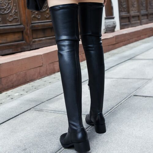 New Womens Over The Knee Block Low Heel Ladies Suede//Leather Thigh High Boots