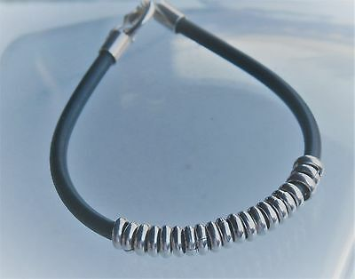 "Southwestern 7.5"" Sterling 950 Grade Silver Ring Slide Black Rubber Bracelet"