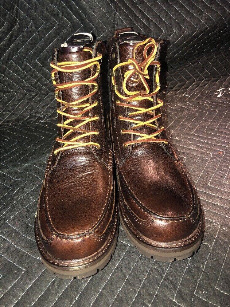 POLO RALPH LAUREN 812570543002 WILLINGCOTT Men's 8 Brown Leather Classic Boots