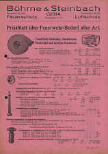 GERA, Preisblatt 1939 über Feuerwehr-Bedarf aller Art, Böhme & Steinbach