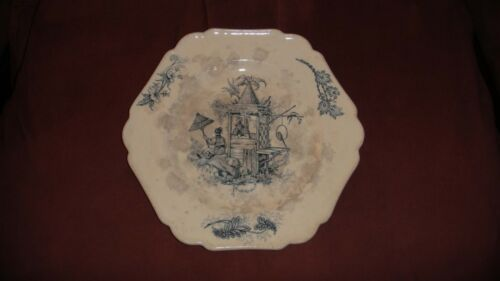 RARE ANTIQUE TRANSFERWARE PLATE P.R REGENCE CHINOISERIE FAIENCE CERAMIC FRENCH