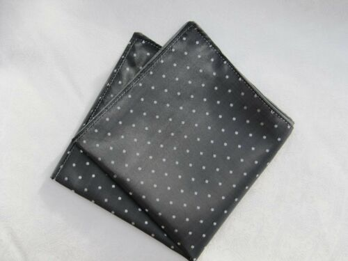 Mens Grey /& White Pin Dot Silk Satin Pocket Square//Handkerchief//Hankie//Kerchief