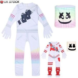 Kids-Boys-MarshMello-DJ-Mask-Cosplay-Costume-Fancy-Halloween-Party-Jumpsuit-Set