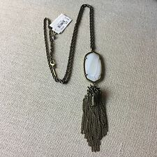 NEW Kendra Scott RAYNE Antique Plated Tassel Necklace White Agate $90
