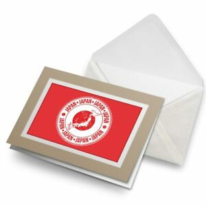Greetings-Card-Biege-Japan-Tokyo-Asia-Red-Stamp-Map-Flag-5516