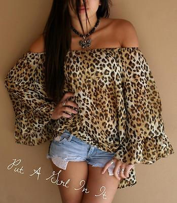 PLUS SIZE CHIFFON ANIMAL LEOPARD PRINT OFF SHOULDER PEASANT TOP SHIRT 1X 2X 3X
