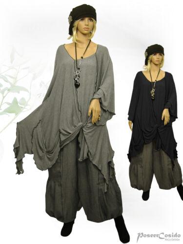 Grau Lagenlook Design amp; xxxl Long xxl xl Tunika Poco Überwurf Schwarz shirt L 8w1dnS5x