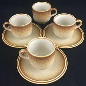 VTG-set-of-4-Cups-and-3-Saucers-Premiere-Stoneware-Country-Casuals-F5800-Japan