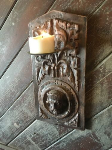 GOTHIC STYLE RESIN SCONCE PLAQUE WITH OAK EFFECT CANDLE HOLDER WALL MOUNTED