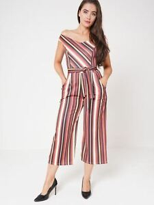 de19382bad0f Ladies Multi Striped Culotte Off Shoulder Jumpsuit Tie Belt Wide Leg ...