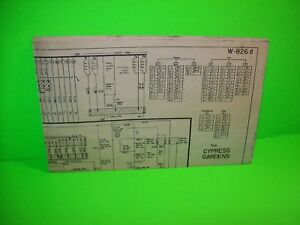 Bally-CYPRESS-GARDENS-1958-Original-Bingo-Pinball-Machine-Diagram-Schematic