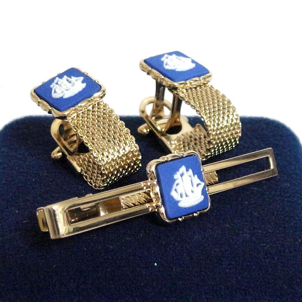 Auth Wedgwood Stratton Cufflinks / Tie Bar Clip Goldtone 2 Set Father's Day Engl