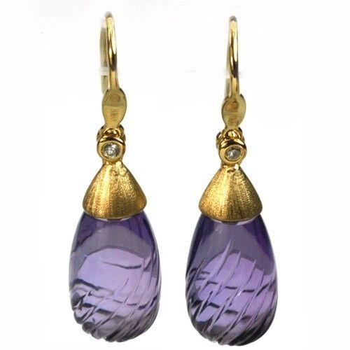 De Buman 19.02ctw Genuine Amethyst & Diamond Solid 18K Yellow gold Earrings