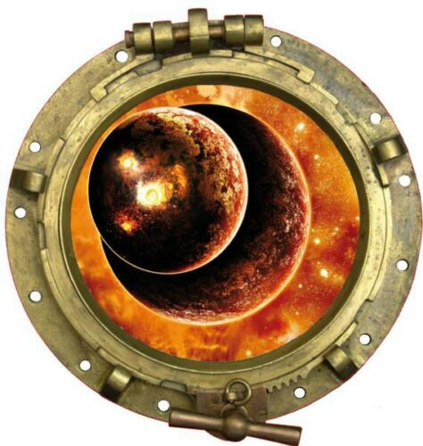 Sticker trompe l/'oeil Planète en feux 20x20cm