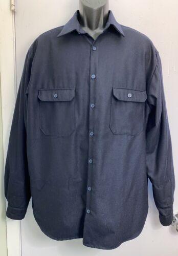 Pendleton Mens XL Navy Blue 100% Wool Button Up Sh