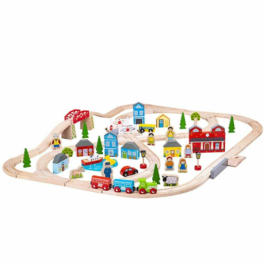 Bigjigs Rail Town and Country Train Set - 101 Pieces (Box Damaged)