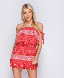 914653ef704 Image is loading NEW-Ladies-Floral-Print-Layered-Bardot-Playsuit-in-