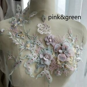 Pearl-Beaded-3D-Flowers-Lace-Applique-Wedding-Dress-Decor-Floral-Patch-Chic-Gold