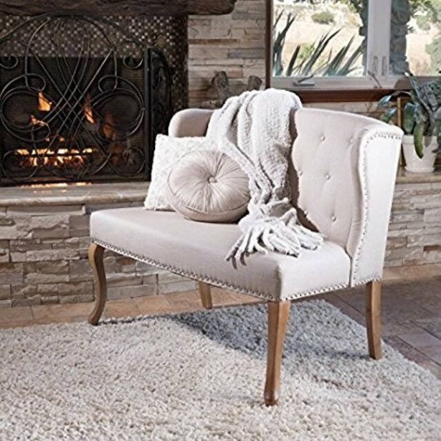 Loveseat For Bedroom Settee Couch Sofa Natural Beige Tufted Bench Living Room