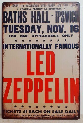 DEL ZEPPELIN metal tin sign bar pub rétro Vintage Wall Decor Poster Home Club.