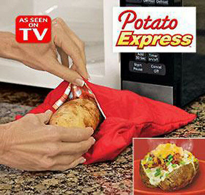Microwave 4 Minutes Jacket Potato Bag Fast Reusable Washable Cook Express Cooker