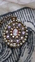 Michal Negrin Long  Necklace with Big Locet,Cameo Style - FREE Shipping