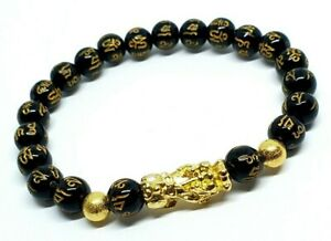 Feng-Shui-Black-Obsidian-Pixiu-Bracelet-Wealth-Good-Luck-Dragon-Glass-Jewelry