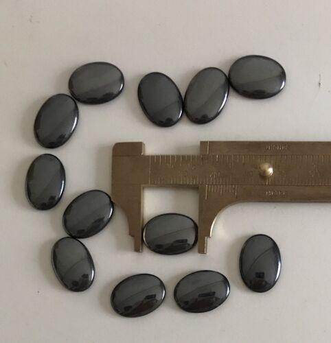 12 pcs 18 x 13 mm Vintage W.German Hematite Glass Oval Cabochon Rhinestones NOS