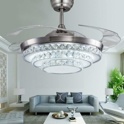 """Remote Silver 42/"""" Crystal Invisible Ceiling Fan Light LED Chandelier Fan Lamp"""