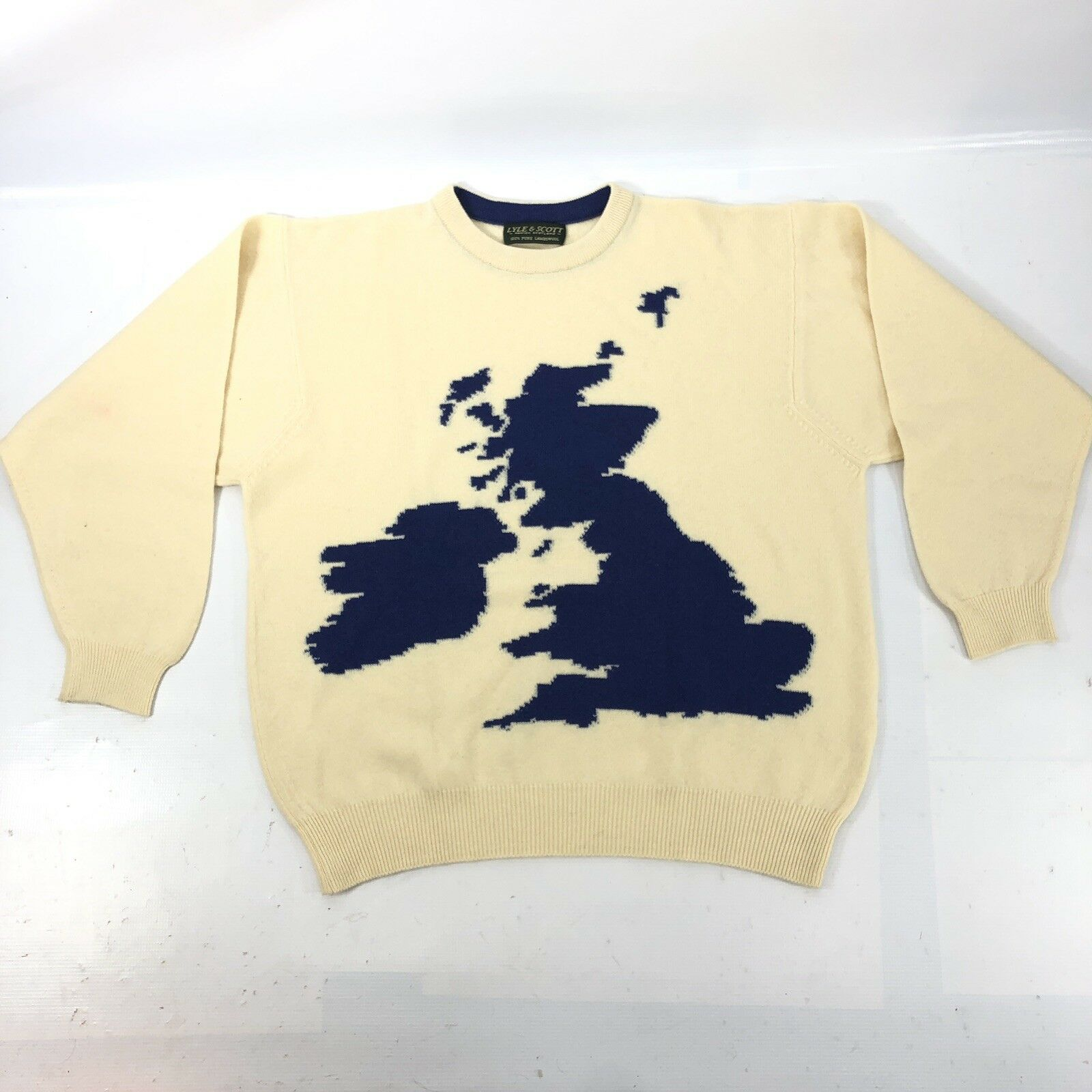 LYLE & SCOTT Men's Sweater XL 100% Wool Beige United Kingdom Made in Scotland