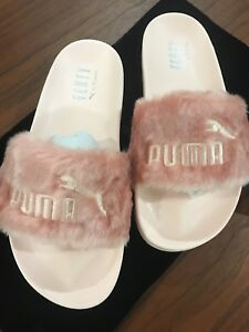 Details about Puma x Rihanna Fenty Slides Olive green Pink Black Grey White  Lead Slippers bow
