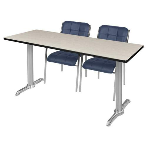 """Regency Via 60"""" x 24"""" Training Table- Maple/Chrome & 2 Uptown Side Chairs- Navy 192357033463"""
