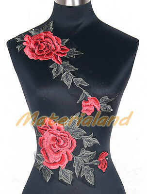 Red + Green Rose Flowers Venise Lace Applique Trims Motif Embroidery Craft