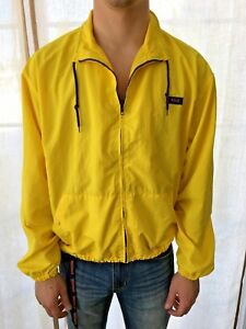 Men s Vintage POLO Sport Ralph Lauren Nylon Windbreaker Yellow Zip M ... fd7a0c00cf0a5
