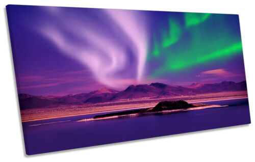 Space Northern Lights Night PANORAMIC CANVAS WALL ART Framed Print