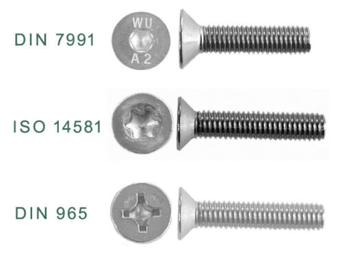 Senkschrauben ✔️ DIN 7991 ✔️ ISO 14581 ✔️DIN 965 M1,6 M2 M2,5 M3 M4 M5 M6 V2A