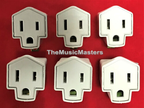 6 Wall Plug Electrical Power GROUNDING ADAPTERS 3 Prong Socket to 2 Prong Plug