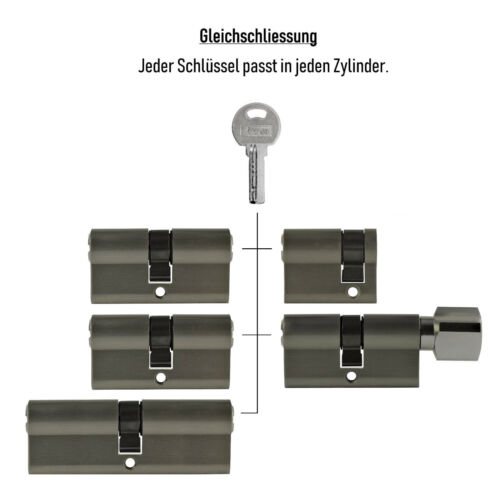 5 Schlüssel Schliessanlage 5x Tür Zylinder Schloss 40//60//80mm gleichschliessend