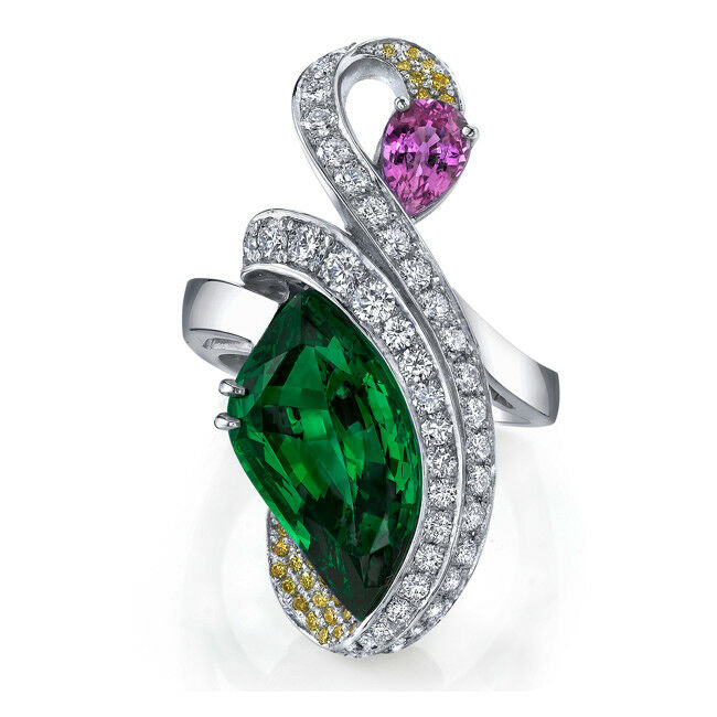 0.76ct DIAMOND 14K WHITE gold EMERALD RUBY YELLOWTOPAZ WEDDING ANNIVERSARY RING