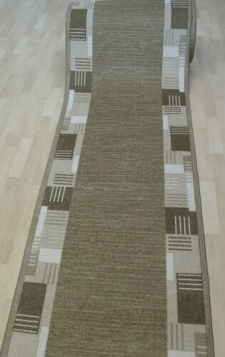 """Modern Velour Carpet Runner /"""" Medina 33 Sand Beige 80 CM Wide New Non-Slip"""