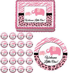 Image Is Loading Pink Sweet Safari Elephants Edible Baby Shower Cake